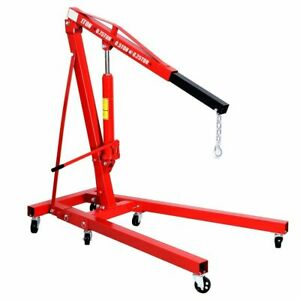 1 Ton Folding Hydraulic Engine Crane Hoist Lift Stand Picker Wheel Garage