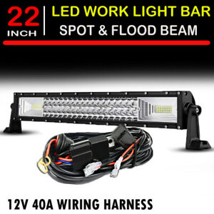 22 Inch 120w Curved Led Work Light Bar Flood Spot Combo For Offroad Suv Atv 4wd