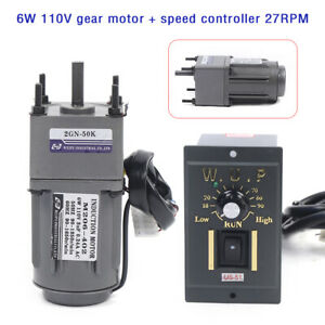6w Ac110v Gear Motor Electric Motor Variable Speed Controller 1 50 27rpm