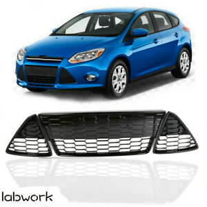 Fit For 2012 2013 2014 Ford Focus Front Bumper Lower Grille Honeycomb 3pcs