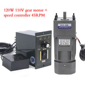 120w Ac110v Gear Motor Electric Motor Variable Speed Controller 1 30 45rpm