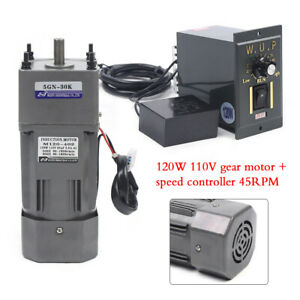 120w Ac110v Gear Motor Electric Motor Variable Speed Controller 1 30 45rpm 30k