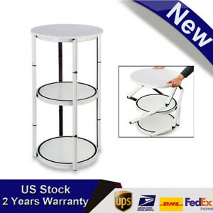 41 7 White Round Aluminum Spiral Counter Display Case With Panel Shelves New