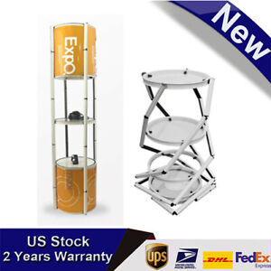 81 White Portable Round Aluminum Folding Twister Tower 5 Layer Display Case Led