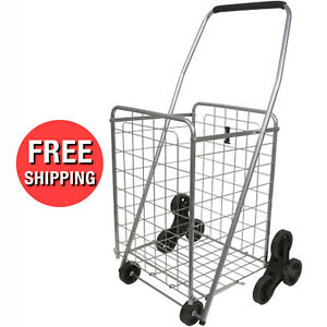 Stair Step Climber Lightweight Folding Shopping Cart With Wheels And Foam Handle