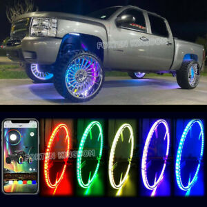 Turn Signal Function 17 Car Truck Led Wheel Ring Rim Light Illuminate Rgb