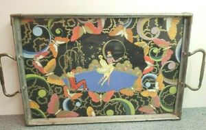 Vintage Art Nouveau Tray With Colorful French Art Clowns And Butterflies