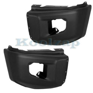 For 14 19 Tundra Pickup Front Bumper Extension End Textured Left Right Set Pair
