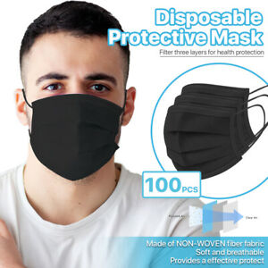 black 100 Pcs Disposable Face Masks 3 ply Non Medical Surgical Earloop Cover