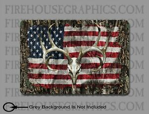 American Flag White Tail Buck Deer Skull Hunting Sticker Decal