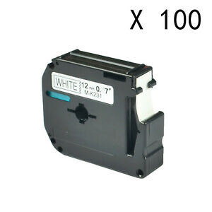 100pk M231 M k231 Mk231 Black On White 12mm Label For Brother P touch Pt 65