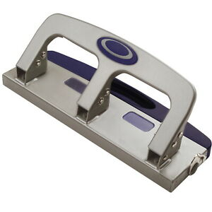 Officemate 3 hole Punch With Pull Out Chip Drawer 20 Sheets Metallic Silver