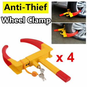4 Pack Wheel Lock Clamp Boot Tire Claw Auto Car Truck Rv Boat Anti Theft Towing