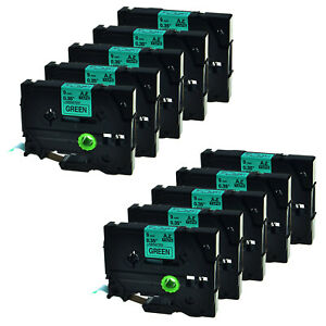 10x Tz721 Tze 721 Black On Green Label Tape For Brother P touch Pt11q Pt340 St5