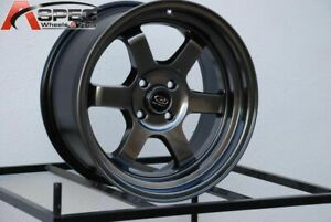 16x8 Rota Grid V 4x100 0 Hyper Black Wheels New Set