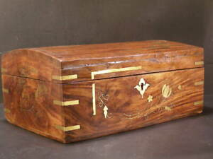 19 C Antique Rose Wood Brass Inlaid Jewelry Vanity Sewing Dresser Box Chest Game