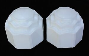 Pair Vintage Milk Glass Octagonal Skyscraper Shades Deco Ceiling Light Globes