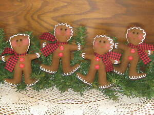4 Gingerbread Bowl Fillers Wreath Accents Country Christmas Decor Tree Ornaments