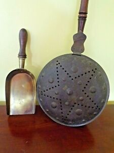 Vintage Copper Bed Warmer With Star Design And Spindle Handle With Coal Shovel