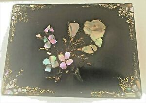 Antique Jennens And Bettridge Papier Mache W Mother Of Pearl Sewing Box 1860