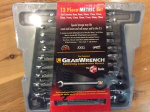 Gearwrench Eht 9412 12 Piece Metric Ratcheting Combination Wrench Set W storage