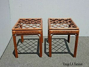 Pair Of Vintage French Country Rustic Bamboo Rattan Brown End Tables