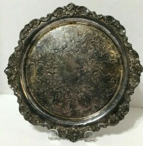 Antique Wallace Silversmiths Baroque Silver Tray 264 10 Inch
