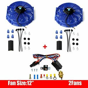 2pcs 12 Inch Electric Radiator Cooling Fan Blue Thermostat Relay Install Kits