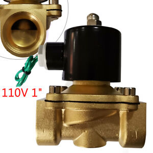 1 Npt Electric Solenoid Air Valve Inlet outlet Ports Brass Water Gas N c 2 way
