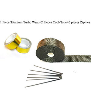 Titanium Pipe Wrap Exhaust Turbo Heat Manifold Header 1 X35 Roll With Gold Tape