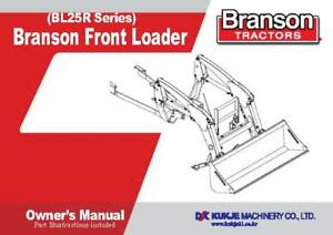 Branson Tractor Bl25r Front Loader Operator Parts Manual