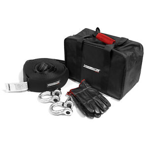 Speedmaster 4wd Winch Recovery Kit Shackle Straps Gloves Bag 5pc