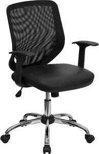 Flash Furniture Mid Back Office Chair With Mesh Back And Italian Leather Seat