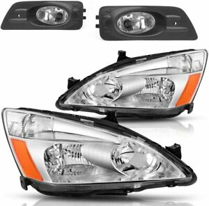 For Honda Accord 2006 2007 Headlights chrome Clear And Fog Lights Kit 4pcs