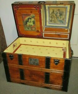 Antique Steamer Trunk Vintage Victorian Dome Top Wooden Brides Chest Tray