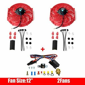 2x 12 Inch Electric Radiator Cooling Fan Red Thermostat Relay Install Kits