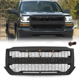 Black Grille Grill For 2016 2018 Chevrolet Silverado 1500 W 3 Lights Letters