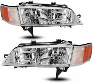 For Honda Accord 1994 1997 Headlights Head Lamps Chrome Clear Amber Set Pair
