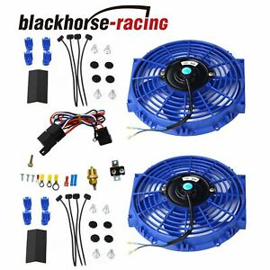 2pcs 10 electric Radiator Cooling Fan W thermostat Relay Mounting Kit Blue