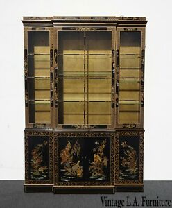 Vintage Drexel Oriental Asian Chippendale Chinoiserie Black China Cabinet Hutch