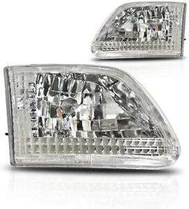 For 1997 2000 Ford F 150 F 250 Expedition Euro Headlights Chrome clear Set
