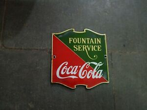 Porcelain Coca Cola Fountain Service Enamel Sign Size 6.5