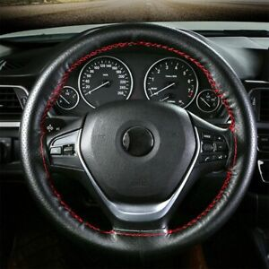 15inch Genuine Leather Diy Car Steering Wheel Cover With Needles Thread