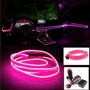 6 5ft Led Car Interior Decor Atmosphere Wire Strip Pink Light Lamp Accessories