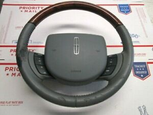 05 11 Lincoln Town Car Wood Steering Wheel Light Gray With Driver Airbag Oem 7