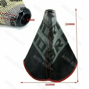 Racing Hyper Fabric Shift Knob Shifter Boot Cover Mt at Red Stitches Jdm Bride
