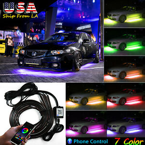 Rgb 7 Color Led Phone Control Underbody Car Neon Light Chassis Atmosphere Light