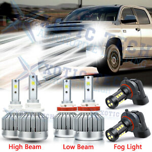 For Toyota Tundra 2007 2013 Combo Led High Low Beam Headlights fog Light Bulbs