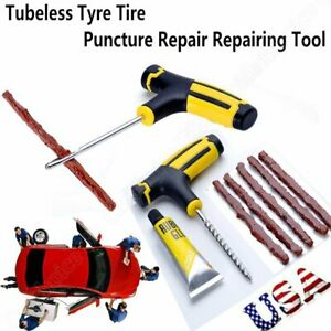 Car Tubeless Tyre Tire Puncture Repair Plug Emergency Kit Needle Patch Fix Tool