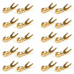 20 Pcs Copper Speaker Cable Spade Connector Terminal Plug Gold Plated Adapter Ua